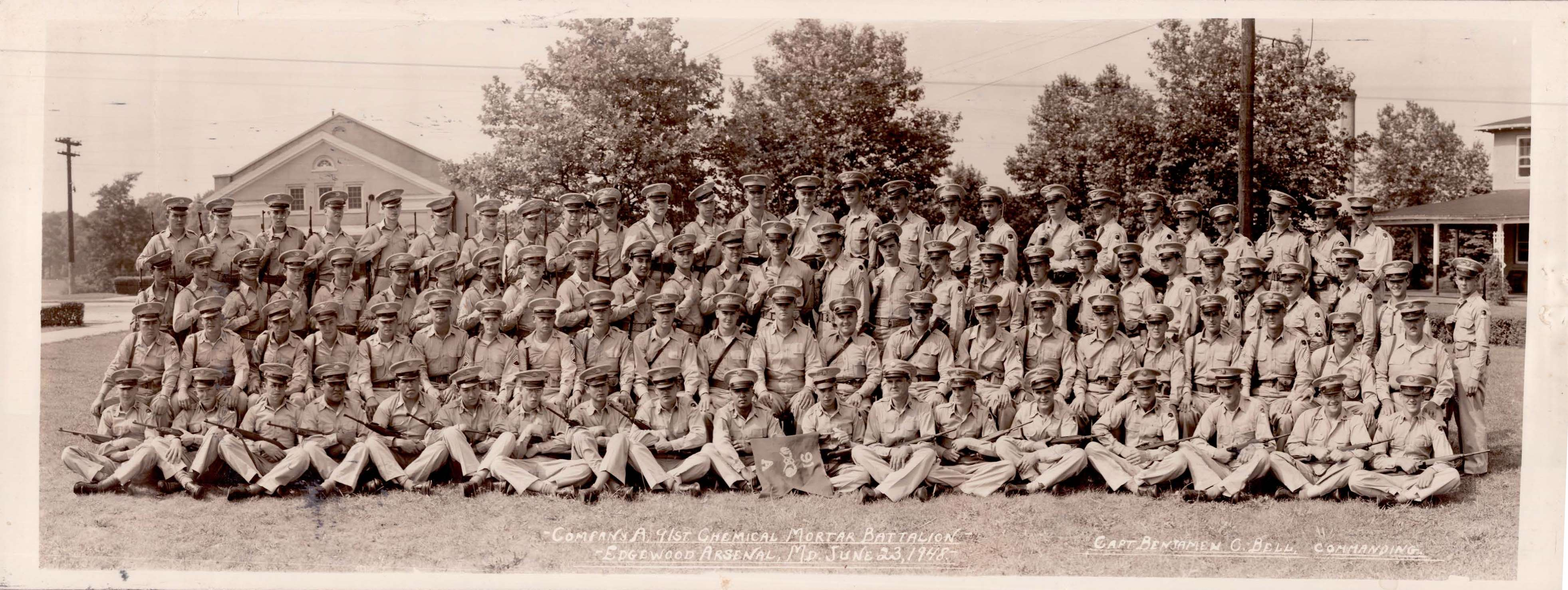 91st Chemical Mortar Battalion Co A At Edgewood Arsenal MD June 23 1948 Provided By Ellen Bell Daughter Of Col Benjamin C